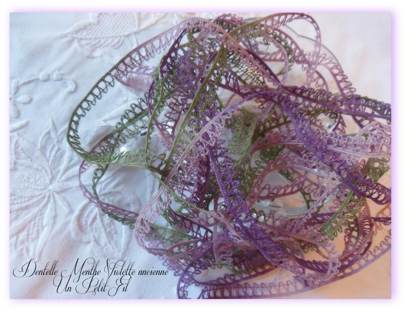 Dentelle ancienne bordure menthe violette un petit fil 2