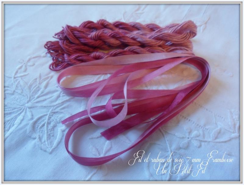 Fil de soie et ruban 7 mm framboise un petit fil