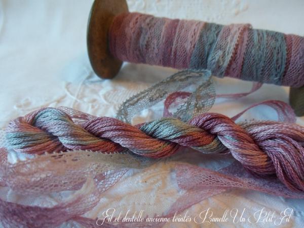 Fil et dentelle ancienne teintes prunelle un petit fil