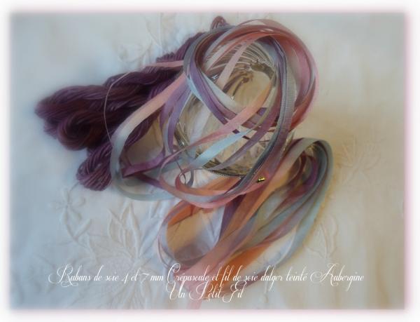Fil soie aubergien et rubans de soie crepuscule 1