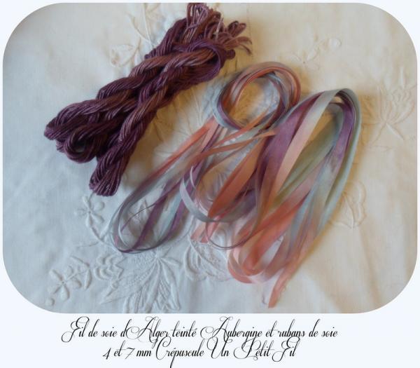 Fil soie aubergien et rubans de soie crepuscule 2