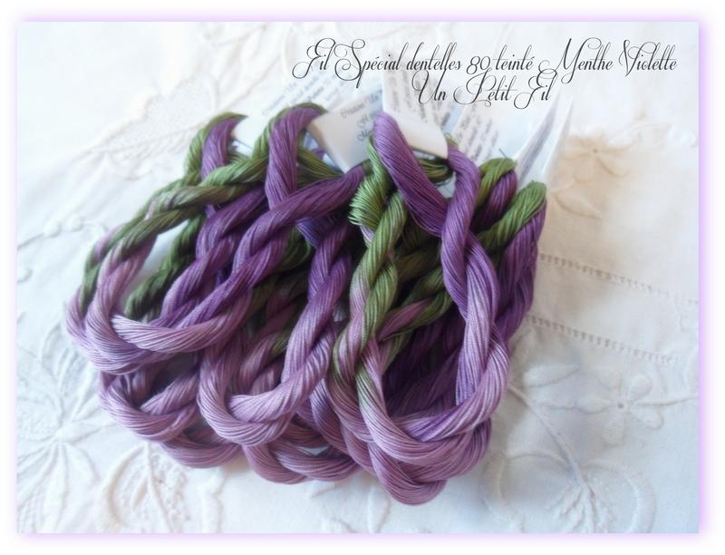 Fil special dentelles 80 menthe violette un petit fil 1