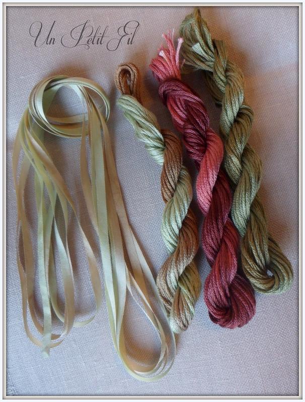 Fils nuits corail vertes et olivette et ruban de soie olivette un petit fil