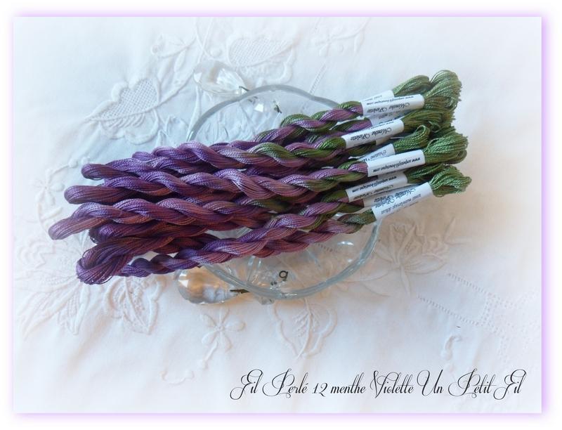 Fils perles 12 teintes menthe violette un petit fil