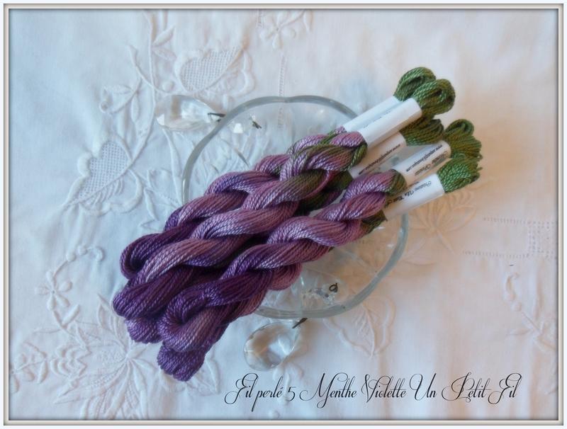 Fils perles 5 teintes menthe violette un petit fil