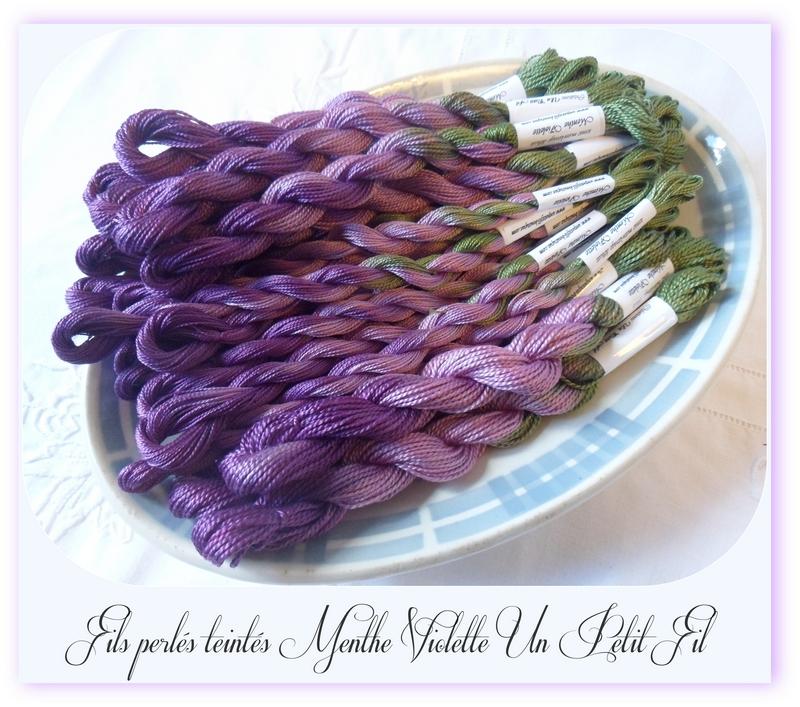 Fils perles teintes menthe violette un petit fil