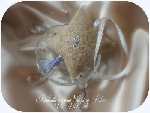 Pendouille a ciseaux hardanger et ruban de soie varaition bleue un petit fil 4