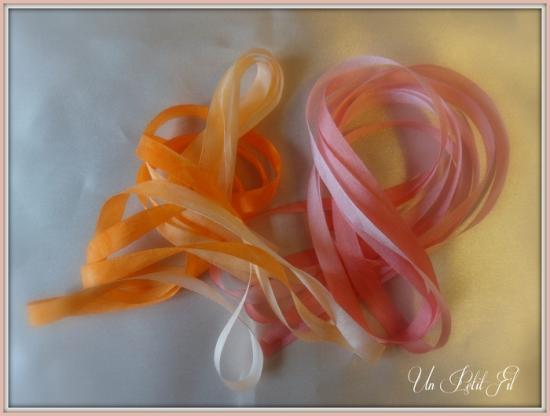 Presentation rubans corail et capucine 7 mm 2