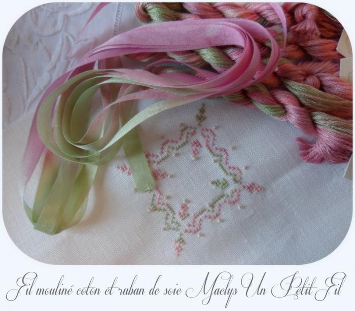 Ruban de soie 7 mm et fil mouline coton maelys un petit fil