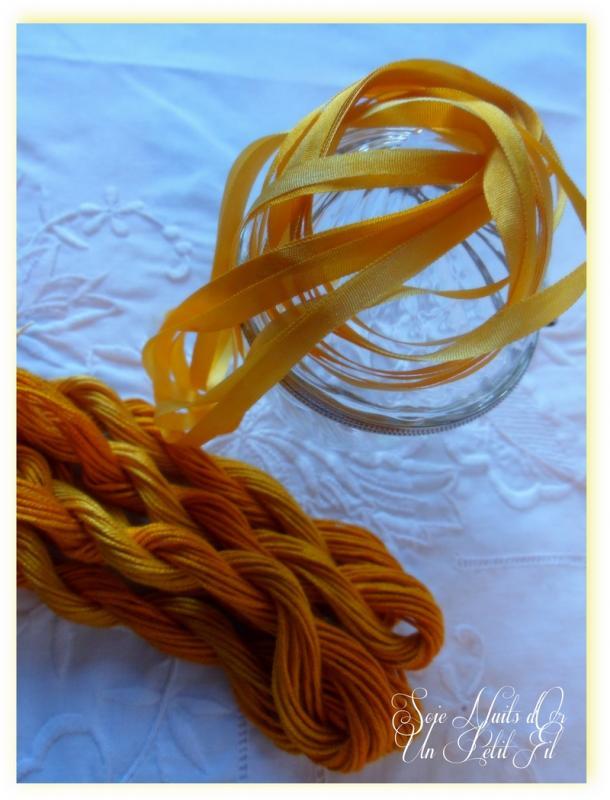 Ruban de soie et soie d alger teintes nuits d or un petit fil 1