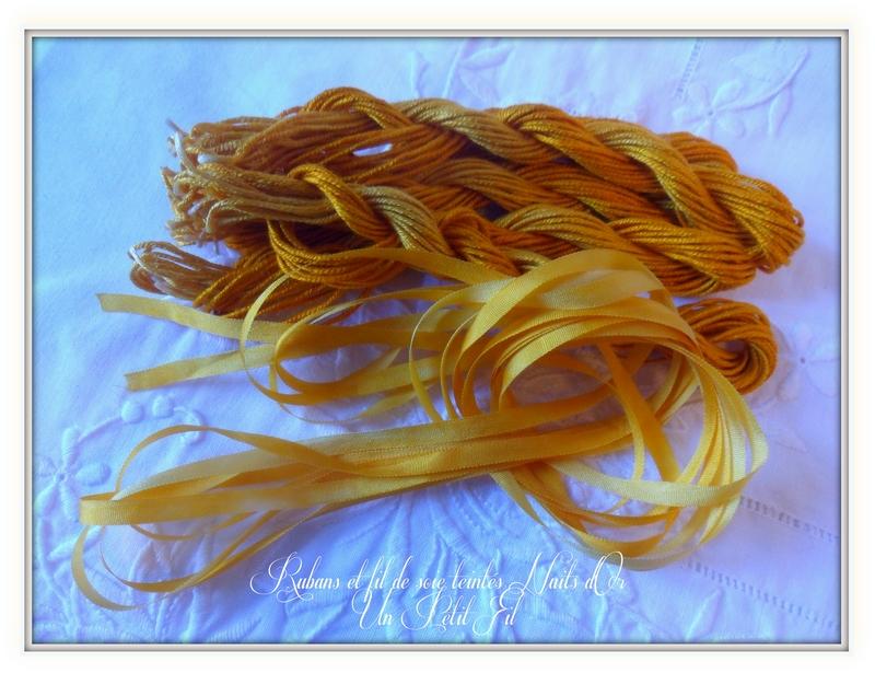 Ruban de soie et soie d alger teintes nuits d or un petit fil 2