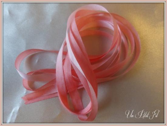 Ruban soie corail 7 mm