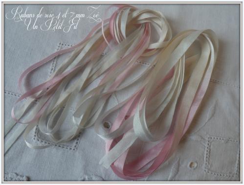 Rubans de soie 4 et 7 mm teintes zoe par un petit fil