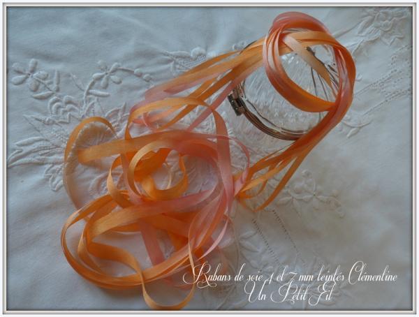 Rubans de soie teintes clementine 4 et 7 mm un petit fil 1