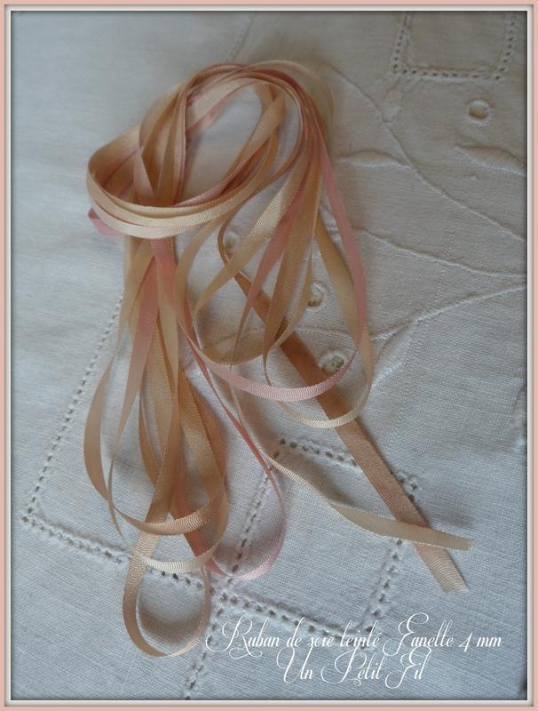 Rubans de soie teintes fanette 4 mm un petit fil