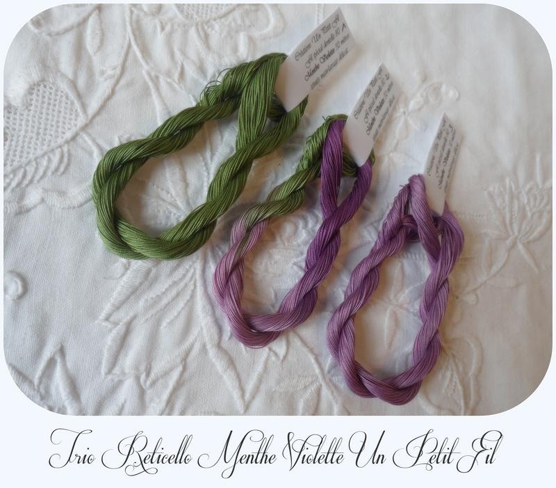 Trio reticello menthe violette un petit fil