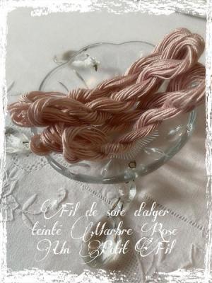Fil de soie d'alger teinté Marbre Rose Un Petit Fil