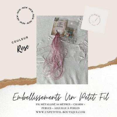 Embellissements Fil Métallisé rose (assortiment fil, perles, charm et aiguille)