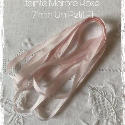 Ruban de soie  Marbre Rose  7 mm