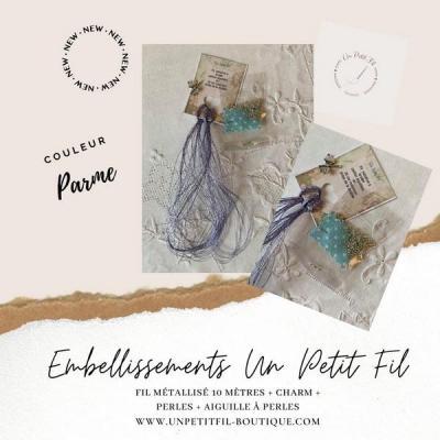 Embellissements Fil Métallisé Parme (assortiment fil, perles, charm et aiguille)
