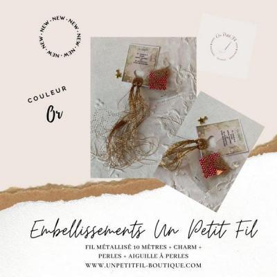 Embellissements Fil Métallisé  Or (assortiment fil, perles, charm et aiguille)