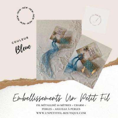 Embellissements Fil Métallisé Bleu (assortiment fil, perles, charm et aiguille)