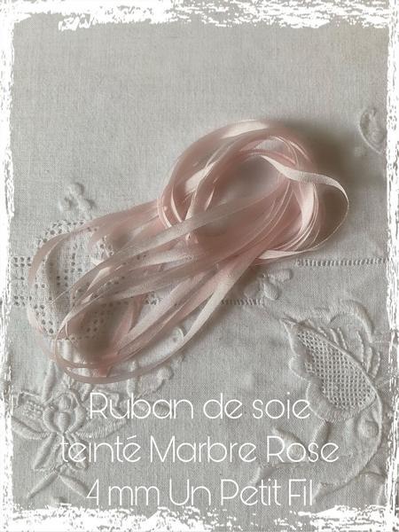 ruban de soie 4 mm Marbre Rose UPF