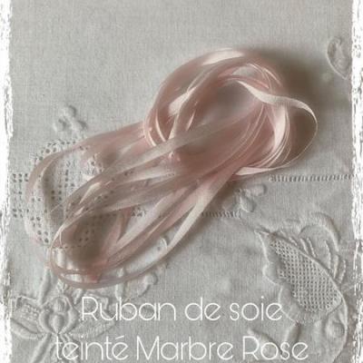 Ruban de soie  Marbre Rose  4 mm
