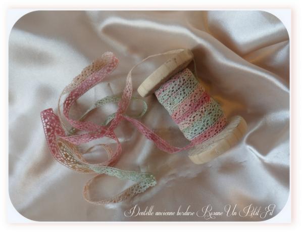 Dentelle ancienne bordure rosane 1