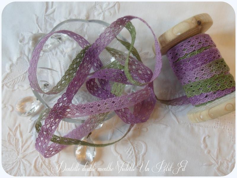 Dentelle double menthe violette un petit fil 2