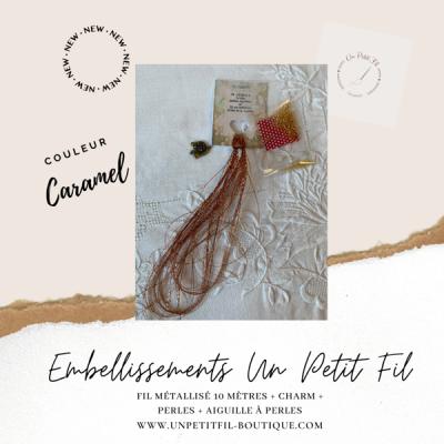 Embellissements Fil Métallisé Caramel (assortiment fil, perles, charm et aiguille)