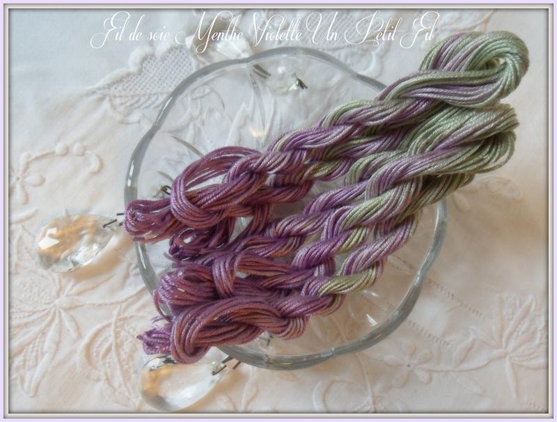 Fil de soie d alger teinte menthe violette 1