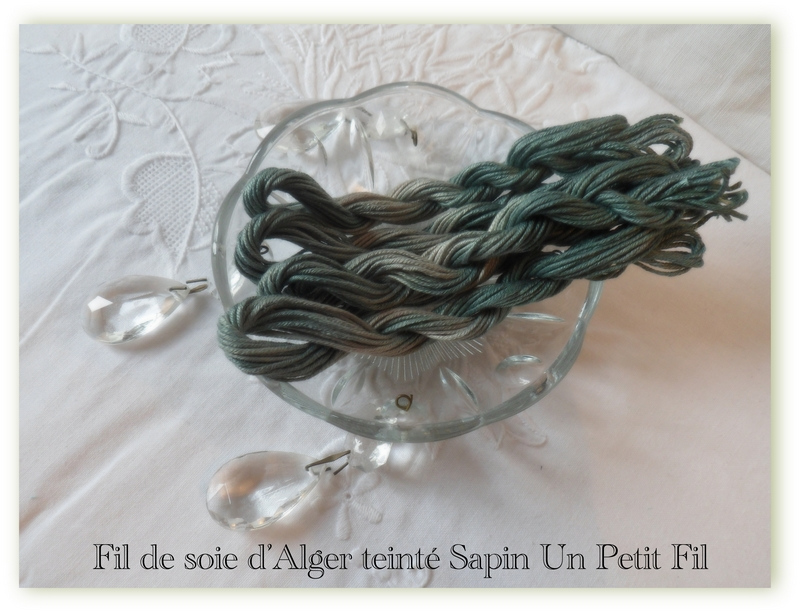 Fil de soie d alger teinte sapin un petit fil