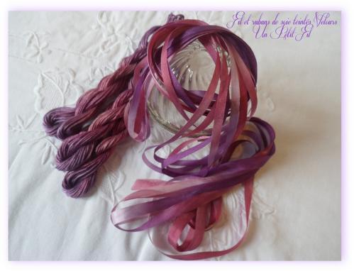 Fil et rubans de soie teintes velours un petit fil