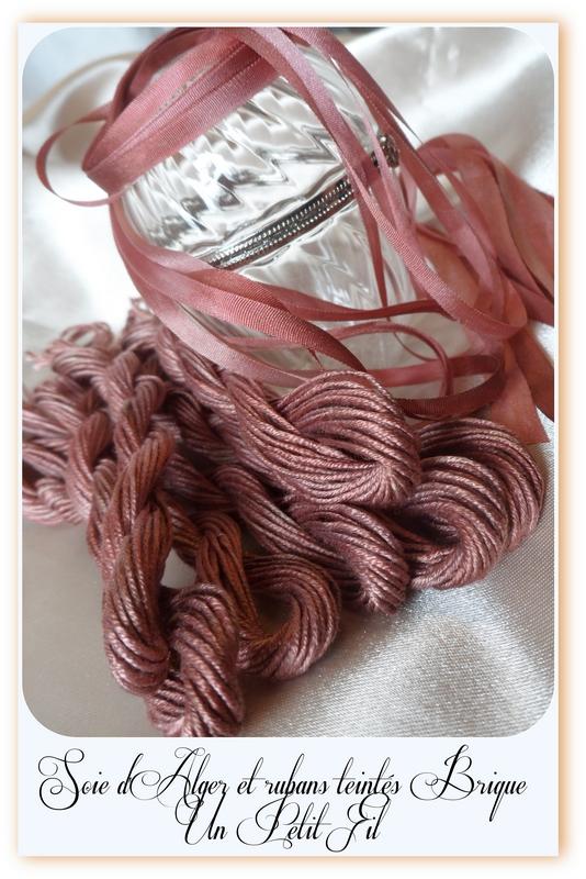 Fil soie d alger et rubans de soie brique un petit fil 1