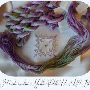 Fil teinte mouline menthe violette un petit fil 1