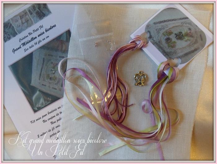 Kit grand medaillon soies violette et florette 4