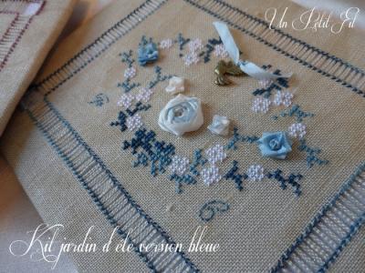 Kit Jardin d'été soie et coton version bleue