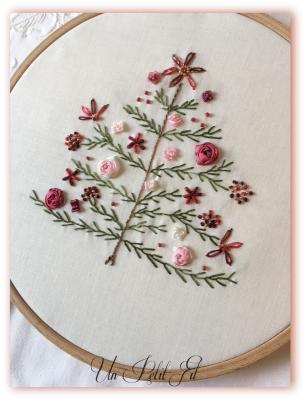 Kit Sapin de Noël version rouge ( Rubans de soie et fils coton)