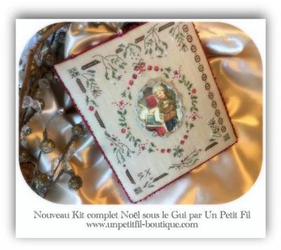 Kit Noël sous le Gui (version toile à broder 16 fils)