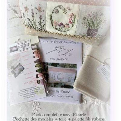 Pack complet Trousse Fleurie les 3 drôles d'aiguilles  (modèles + palette +toile)