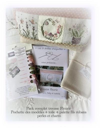 Pack complet trousse fleurie fleurs de lin le lin d isabelle un petit fil