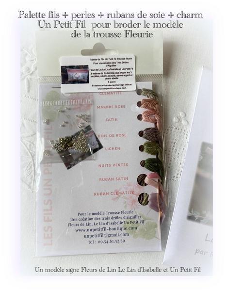 Palette de fils pour trousse fleurie modele fleurs de lin le lin d isabelle et un petit fil