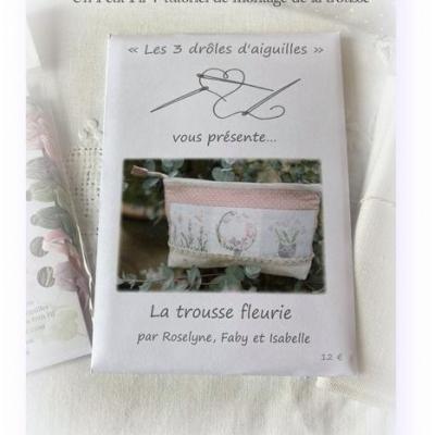Trousse fleurie les 3 Drôles d'Aiguilles : pochette des modèles uniquement