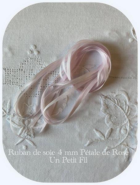 Ruban 4 mm petale de rose un petit fil