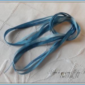 Ruban de soie 4 mm bleu petrole