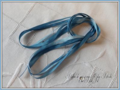 Ruban de soie Bleu Pétrole 4 mm
