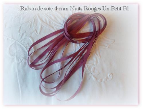 Ruban de soie 4 mm nuits rouges un petit fil