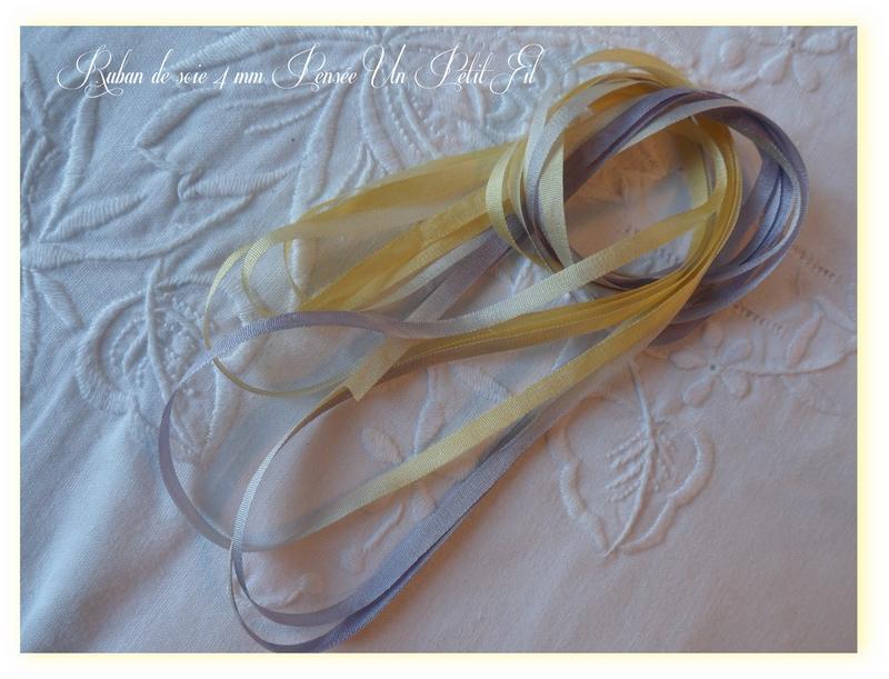 Ruban de soie 4 mm pensee un petit fil