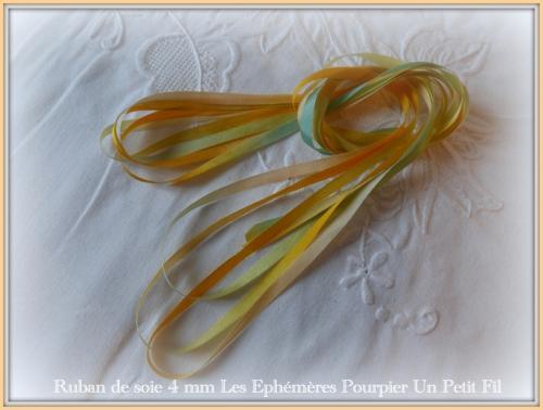 Ruban de soie 4 mm pourpier un petit fil 3